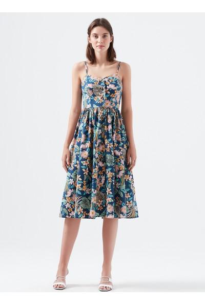 Mavi Kadın Düğmeli Lacivert Elbise 130869-30761