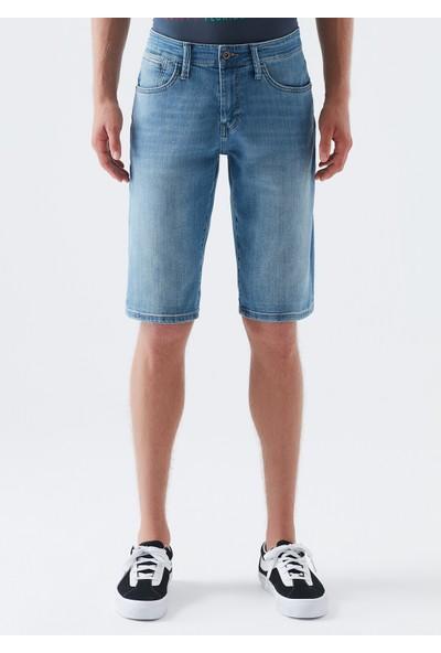 Mavi Erkek Nicholas Premium Comfort Zımparalı Jean Şort 0416028606