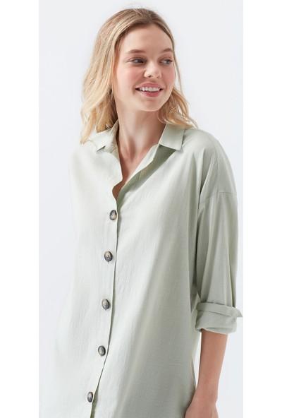 Mavi Uzun Kollu Düğme Detaylı Yeşil Gömlek 122385-32131