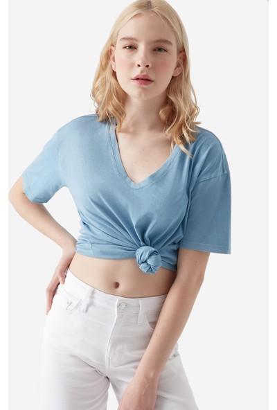 Mavi V Yaka Mavi T-Shirt