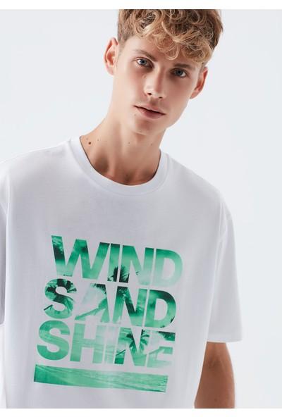 Mavi Wind Sand Shine Baskılı Beyaz Tişört 066139-620