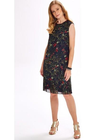 İkiler Eteği Pliseastarlı Şifon Elbise 020-4031