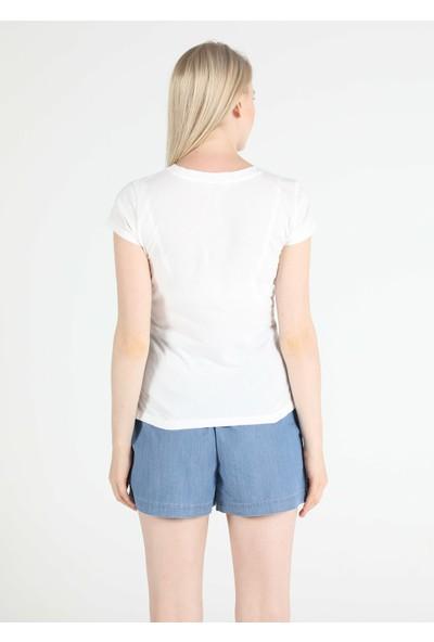 Colins Slim Fit Bisiklet Yaka Kadın Beyaz Kısa Kol Tişört