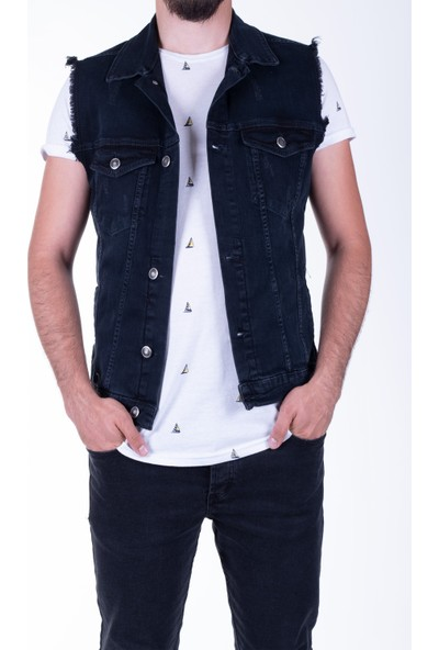 Zenet Jeans Erkek Slimfit Siyah Yırtıklı Kot Yelek