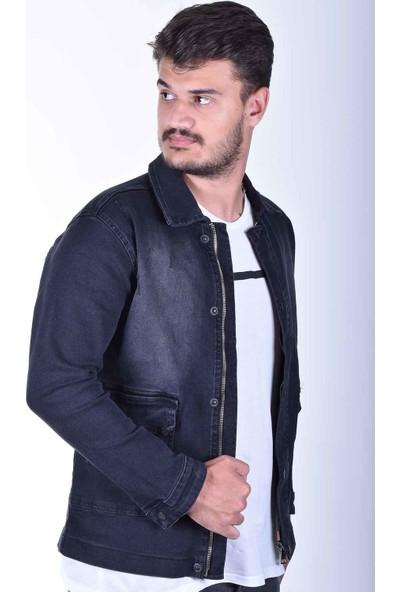 Zenet Jeans Erkek Slimfit Koyu Füme Fermuarlı Kot Ceket