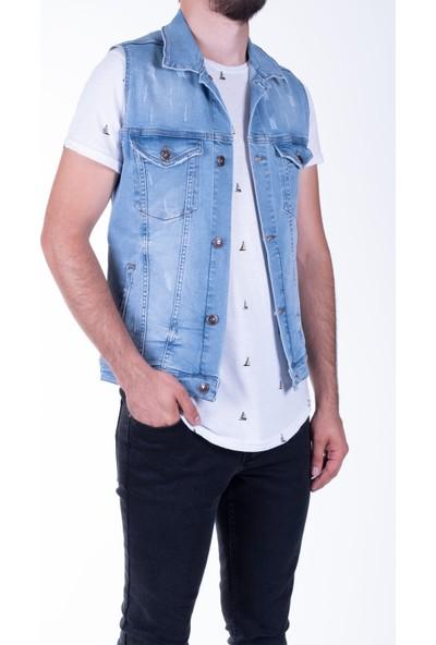 Zenet Jeans Erkek Slimfit Mavi Lazer Yırtık Kot Yelek
