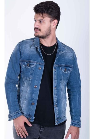 Zenet Jeans Erkek Slimfit Orta Mavi Kot Ceket