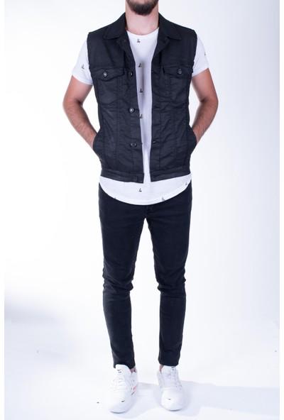 Zenet Jeans Erkek Slimfit Klasik Siyah Kot Yelek