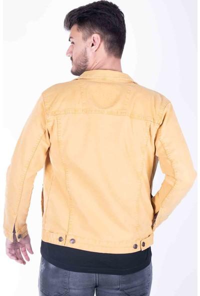 Zenet Jeans Erkek Slimfit Sarı Kot Ceket