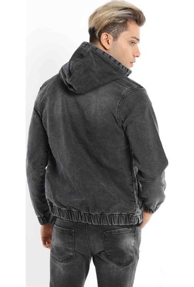 Zenet Jeans Erkek Slimfit Kapüşonlu Füme Kot Ceket