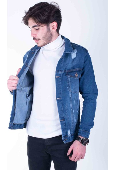 Zenet Jeans Erkek Slimfit Mavi Kot Ceket