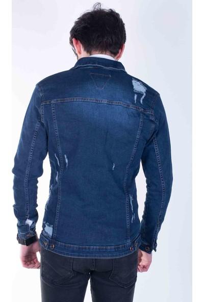 Zenet Jeans Erkek Slimfit Koyu Mavi Kot Ceket
