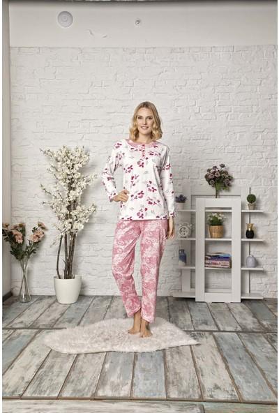 Tampap Kadın Pijama Takımı Yaprak Detaylı Uzun Kollu Pijama 2790