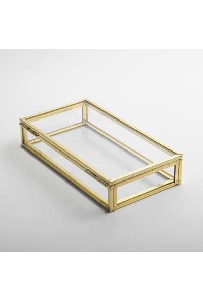 El Crea Designs Gold Pirinç Brass Minimal Tasarım Kapaklı Kutu 15 x 8 x 3 cm