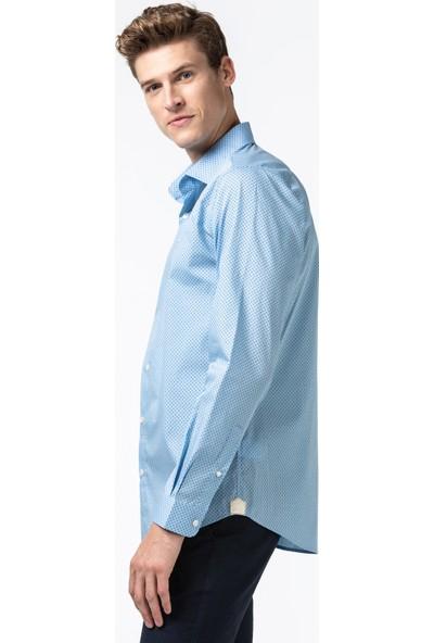 Lacoste Erkek Slim Fit Desenli Mavi Gömlek CH6681.CM9