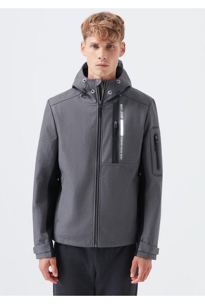 Mavi Kapüşonlu Antrasit Ceket