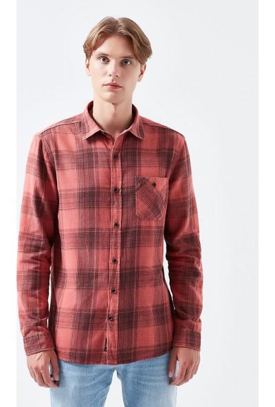 Mavi Kareli Kırmızı Gömlek