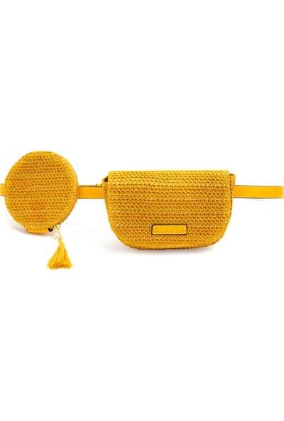 Mavi Sarı Hasır Bel Çantası 197546-31383