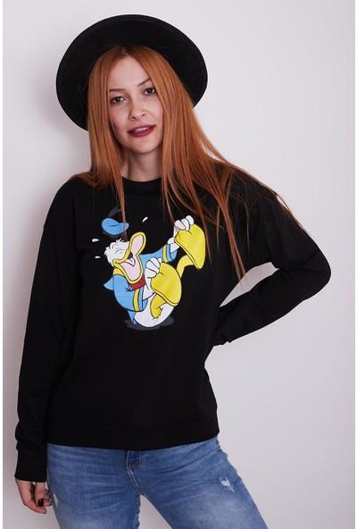 Vog Kadın Donald Duck Baskılı Sweatshirt