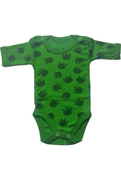 Loveminixx Yarım Kollu Desenli Yeşil Erkek Bebek Zıbını
