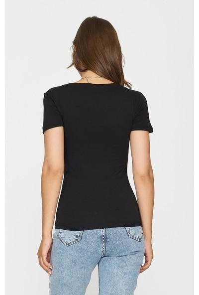 Batik Y42537 Orm Düz Casual V Yaka T-Shirt Kısa Kol