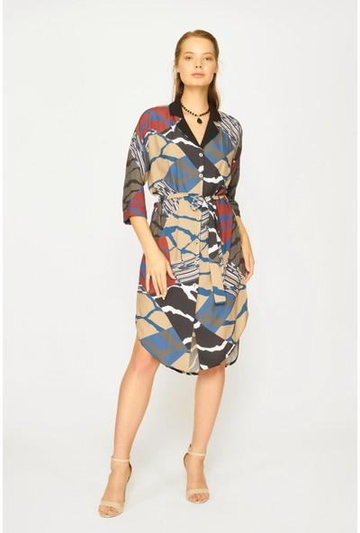 Batik Y42556 Dkm Desenli Casual Elbise Uzun Kol