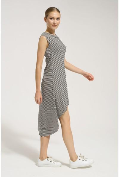 Batik Y42834 Orm Çizgili Casual Elbise Kısa Kol