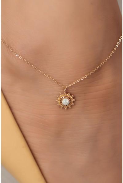 Semiz Kuyumculuk Opal Taşlı Şık Altın Halhal
