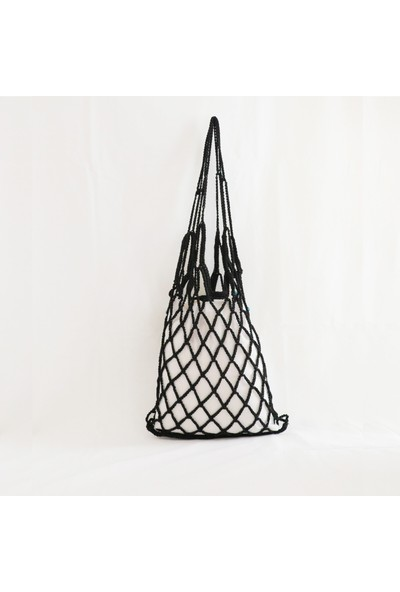 Vintech File Merserize Çanta El Yapım Çanta Yazlık Çanta Organik Mavi Cam Boncuklu Siyah Çanta