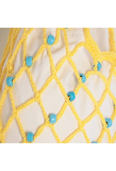 Vintech File Merserize Çanta Yazlık Çanta El Yapımı Çanta Organik Mavi Cam Boncuklu Sarı İp Çanta
