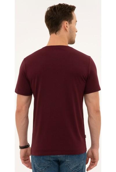 Pierre Cardin Bordo Slim Fit V Yaka T-Shirt 50225532-VR014