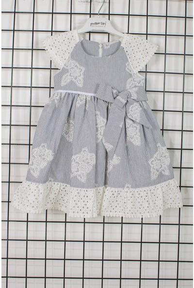 Pafim Yarım Kol İşlemeli Kız Çocuk Elbisesi 20-604