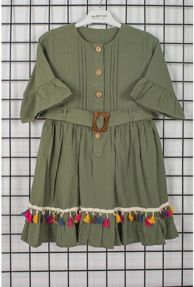 Pafim Yarım Kol Düğmeli Kız Çocuk Elbisesi 20-669