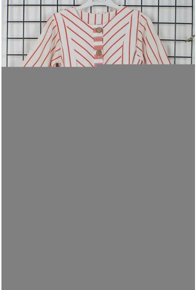 Pafim Çizgili Düğmeli Kız Çocuk Elbisesi 20-619