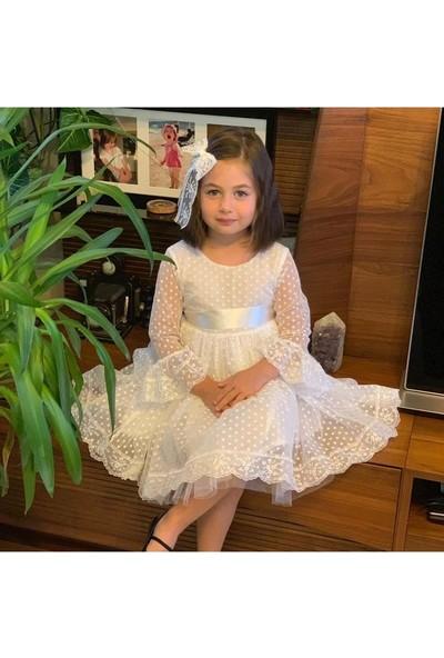 Pumpido Puantiyeli Tüllü Kız Çocuk Elbise