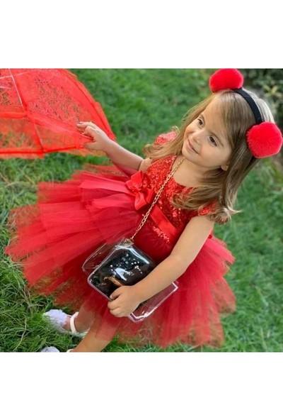 Pumpido Payetli Tüllü Kız Çocuk Elbise