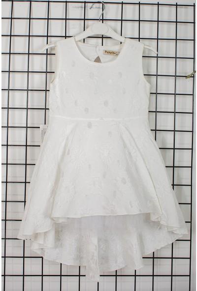 Pumpido Çiçek İşlemeli Kız Çocuk Elbise