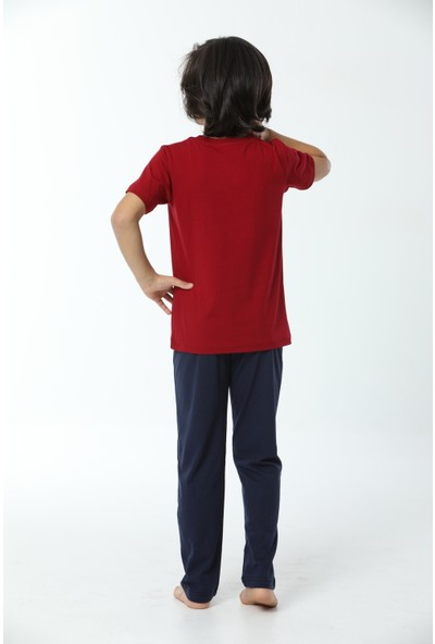 HMD Erkek Çocuk Pamuklu Bordo California Detay Kısa Kollu Pijama Takımı