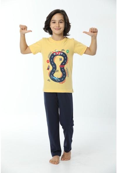 HMD Erkek Çocuk Pamuklu Sarı Baskılı Kısa Kollu Pijama Takımı