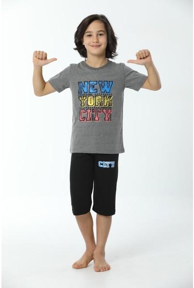 HMD Erkek Çocuk Pamuklu New York City Baskılı Kısa Kollu Kapri Takım