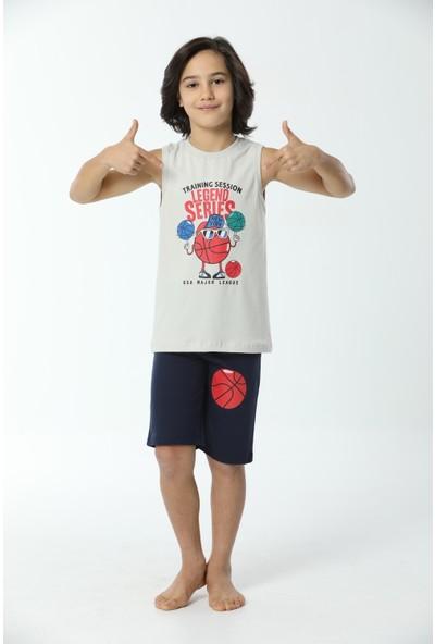 HMD Erkek Çocuk Pamuklu Bej Legend Series Temalı Şortlu Askılı Takım