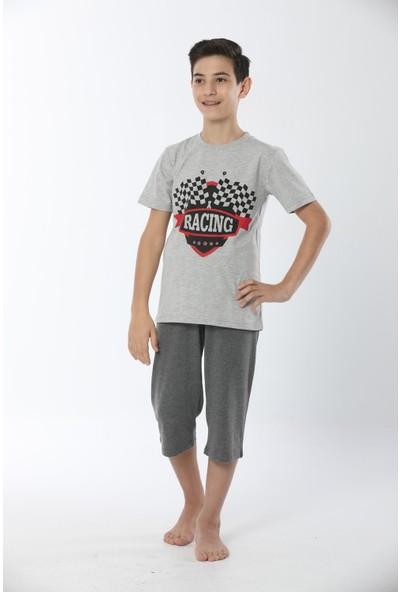 HMD Erkek Çocuk Pamuklu Gri Racing Temalı Kısa Kollu Kapri Takım