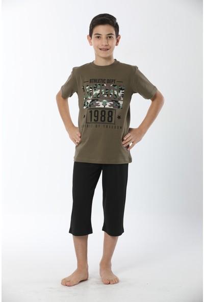 HMD Erkek Çocuk Pamuklu Haki Baskılı Kısa Kollu Kapri Takım