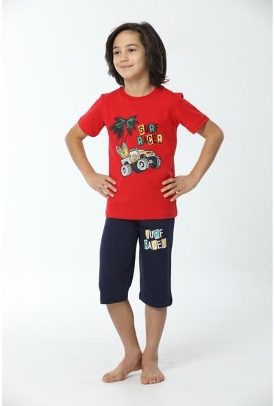 HMD Erkek Çocuk Pamuklu Kırmızı Surf Racer Baskılı Kısa Kollu Kapri Takım