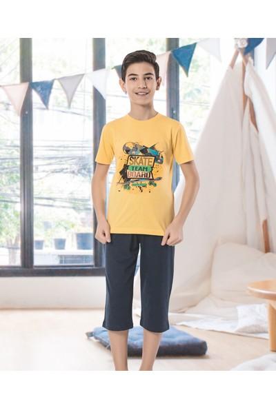 HMD Erkek Çocuk Pamuklu Sarı Baskılı Kısa Kollu Kapri Takım