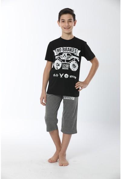 HMD Erkek Çocuk Pamuklu Siyah Baskılı Kısa Kollu Kapri Takım