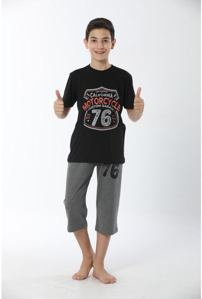 HMD Erkek Çocuk Pamuklu Siyah Motorcycle Temalı Kısa Kollu Kapri Takım