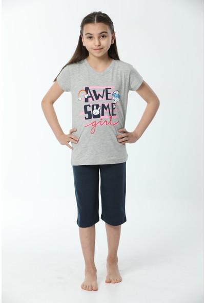 HMD Kız Çocuk Pamuklu Gri Awesome Girl Baskılı Kısa Kollu Kapri Takım