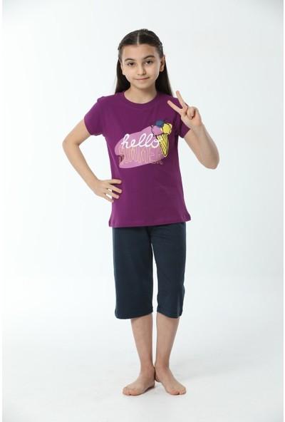 HMD Kız Çocuk Pamuklu Mor Hello Summer Baskılı Kısa Kollu Kapri Takım