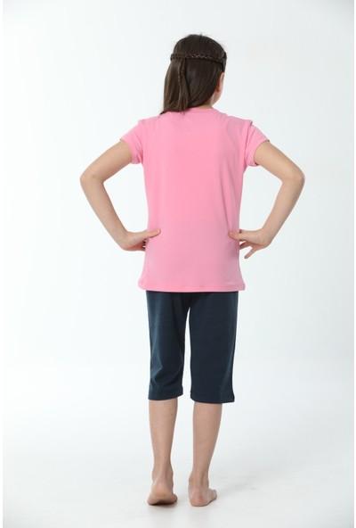 HMD Kız Çocuk Pamuklu Pembe Baskılı Kısa Kollu Kapri Takım